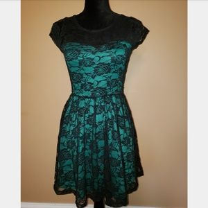 Black and emerald lace dress